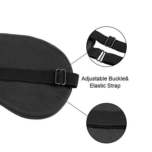 Silk Sleep Eye Mask Eyeshade - 100% Silk Soft Adjustable Strap Eye Cover(Black+Dark Green+Light Blue)