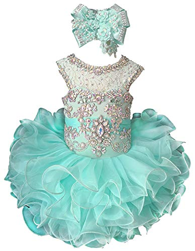M_RAC Baby Girl's Crystal Jewel Pageant Cupcake Dress Birthday Party Mini Gowns 6M Mint -