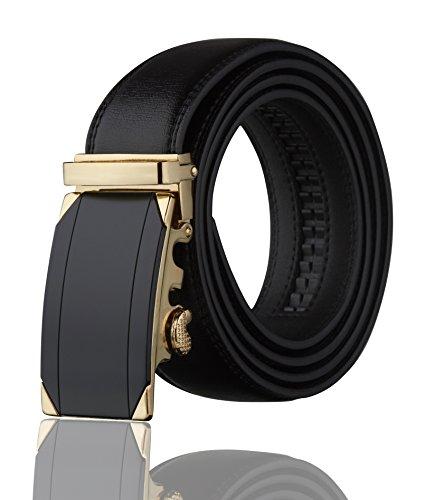 Men's Imperial Ratchet Leather Dress Belt (black studs) (Black Buckle Studs)