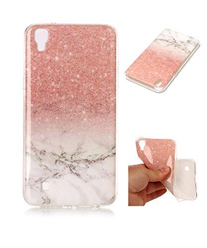 LG X Power Case,LG X Power Marble Case,DAMONDY 3D Marble Glitter Ultra Thin Slim Back Skin Full Body Protective TPU Case Phone Cover For LG X Power K210 (2016)-Rose white