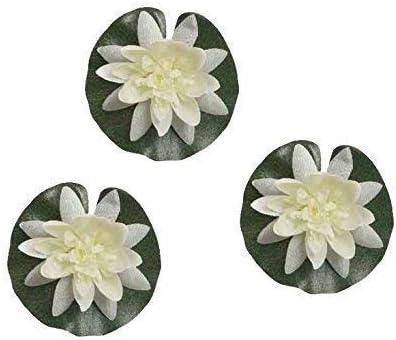 E + N Nenúfar Kunst-Pflanze Seiden-Blume Verano Estanque Deco Jardín Fuente Flotante Crema, 3 Stück-packung, Altura X Ø : Aprox. 4x13cm, Textil/Plástico: Amazon.es: Hogar