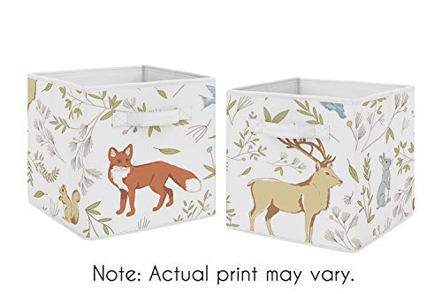 Woodland Animal Toile Foldable Fabric Storage Cube Bins Boxes Organizer Toys Kids Baby Childrens for Collection by Sweet Jojo Designs - Set of 2 (Storage Blue Squirrel)
