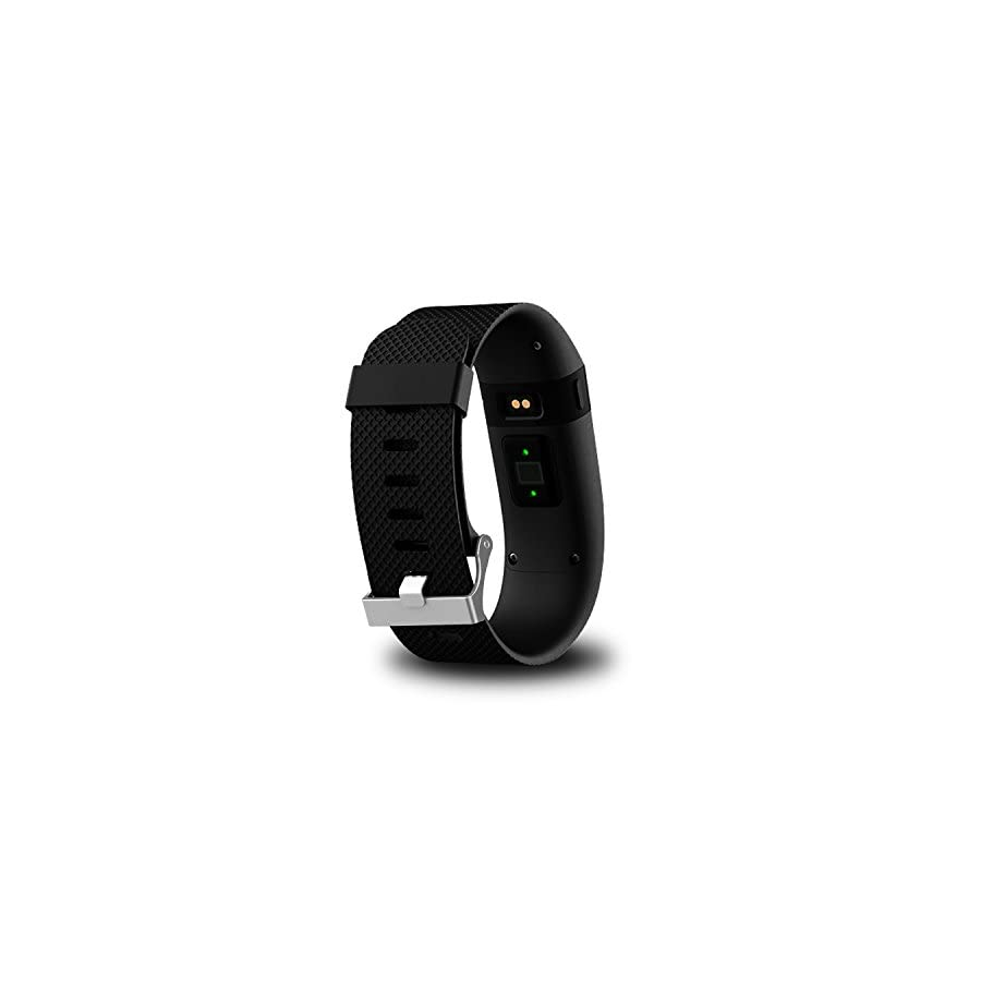 KingAcc Compatible Replacement Bands for Fitbit Charge HR, Soft Silicone Band with Metal Buckle Fitness Wristband Sport Strap Women Men (1 Pack, Black, Large)