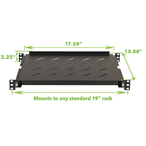NavePoint Sliding Rack Vented Server Shelf 1U 19'' 4 Post Rack Mount Adjustable 14'' - 17''