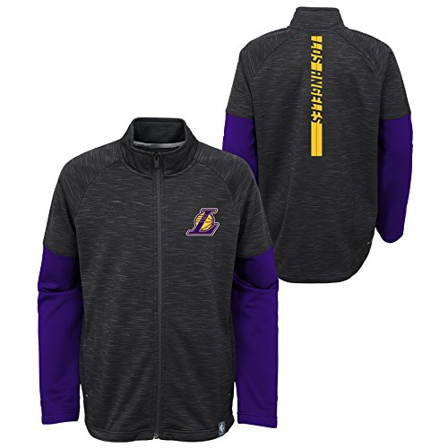 Boys Traveling Full Zip Warm-Up Jacket Los Angeles Lakers-Charcoal-M(10-12) (Lakers Jackets)