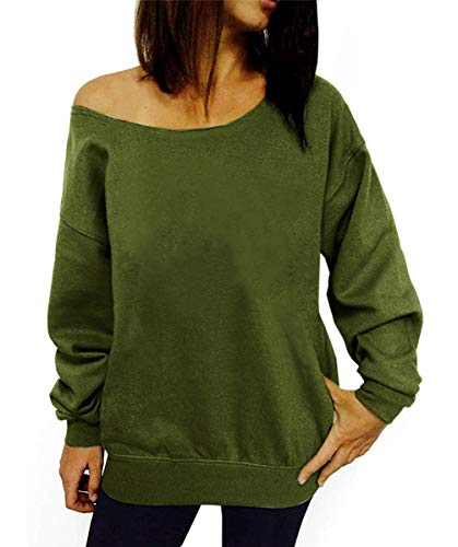 Dutebare Women Off Shoulder Sweatshirt Slouchy Wifey Shirt Long Sleeve Pullover Tops Army Green a - Army Sweatshirt Pullover