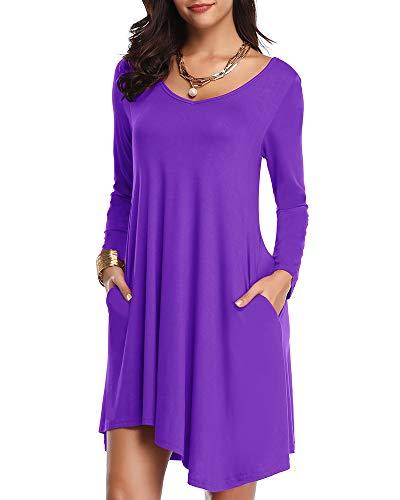 JollieLovin Women's Long Sleeve Pockets Loose T-Shirt Dress Asymmetrical Hem (Deep Purple, ()