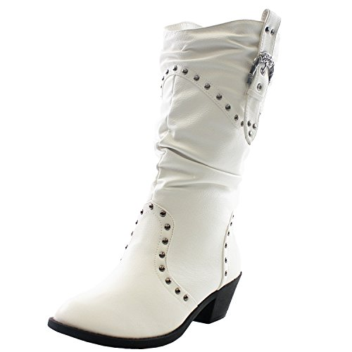 West Blvd Womens Cowboy Boots Casual Western Shoes Chunky Heels Cowgirl Slouch Roper Studded Mid Calf Buckle Slouchy Stud Round Toe Buckled Ruched Dress Fashion Designer Comfort,West-Blvd-Moscow-Cowboy-White 7