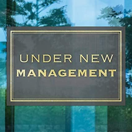 Classic Gold Window Cling Under New Management 27x18 CGSignLab 5-Pack