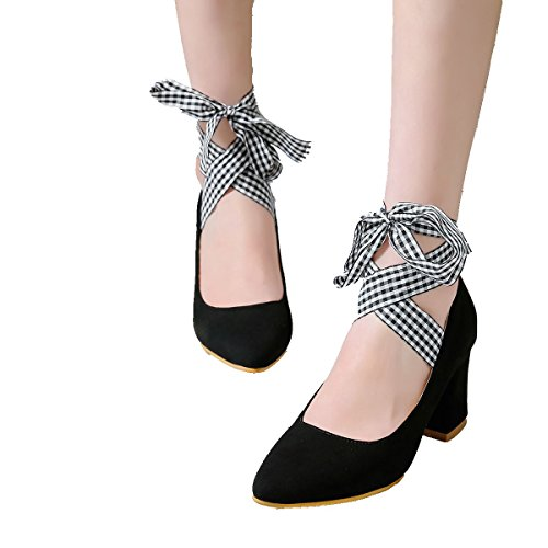 Pointed Work Bowtie Party Toe Black Lace Up Women's Pumps Shoes Mid Heel DecoStain Chunky AFSqww