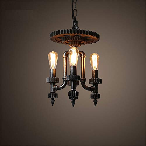 (LifeX Vintage Industrial Water Pipe Pendant Light Wood Gear Hanging Lamp Edison Loft Style Lamps Pendant Lighting Home Decor Fixture, Water Pipe and Gear Design)