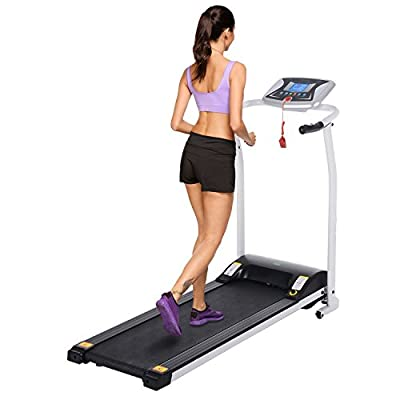 Hindom Folding Electric Treadmill, Portable Motorized Running Machine with Led Display for Cardio Fitness Training (US STOCK)