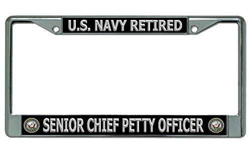 Navy Senior Chief License Plate - U.S. Navy Retired Senior Chief Petty Officer Chrome License Plate Frame