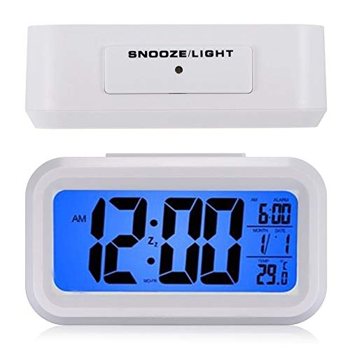 (LED Mirror Alarm Clock Digital Snooze Table Clock Wake Up Light Electronic Large Time Temperature Display Home Decoration Clock)