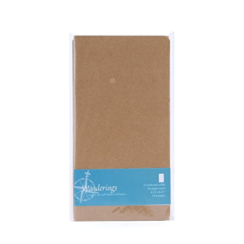 Wanderings Traveler's Notebook Refill Inserts - Dot Paper - Set of 3 Pack | For Refillable Leather Travel Journals, Scratch Pads, Diary and Planners | 8.25 x 4.5 Inch (21 x 11cm)