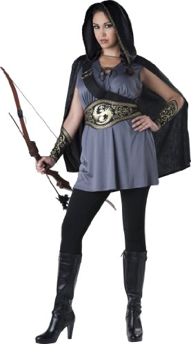 [InCharacter Costumes Women's Plus-Size Midnight Huntress Plus Size Costume, Silver/Black, XX-Large] (Power Ranger Costume Female)