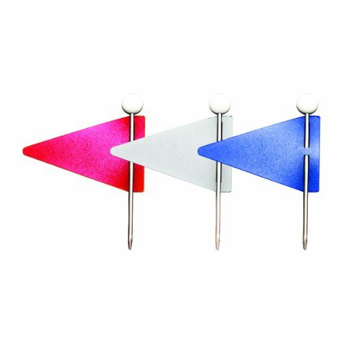 ADVANTUS Triangular Map Flags, 1 x 0.625 Inch, Assorted Red, White, Blue (MF375) Assorted Map