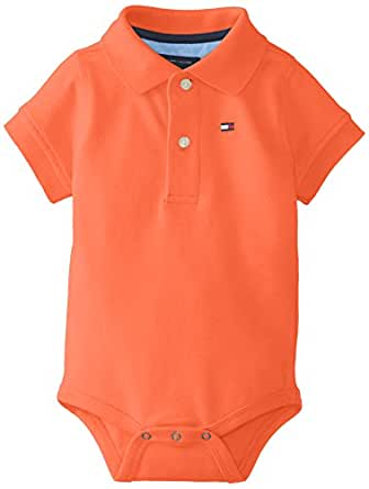 TOMMY HILFIGER Baby Boys' Short Sleeve Ivy Bodysuit, Dusky Coral, 3 Months
