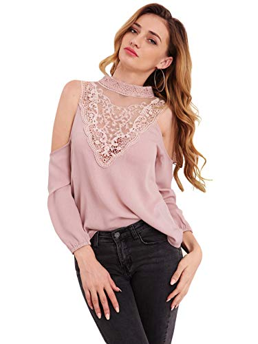 WDIRARA Women's Sexy Cold Shoulder Lace Long Sleeve Keyhole Shirt Blouse Tops Pink L