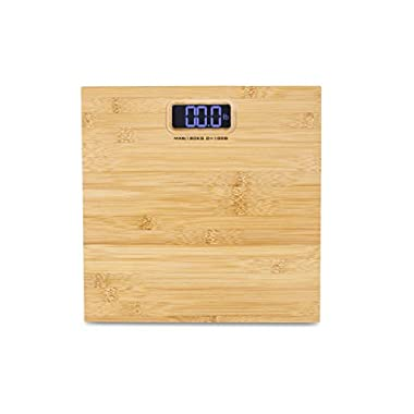 Modern Genuine Bamboo Weighing Body Scale w/400lb capacity Digital Blue Backlight LCD Screen by Wasserstein