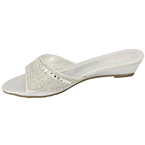 ... Damen Sandalen Damen Glitzersteine Slip On Strassstein Pantoffeln  Sommer Mode Neu SILBER - 884 604fefccf0