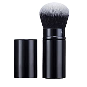 Premium Synthetic Kabuki Makeup Brush by Aguder Retractable Blush Brush Perfect for Blending Liquid, Cream or Flawless Powder Cosmetics - Buffing, Stippling, Concealer(Black)
