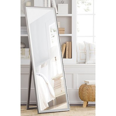 41ZriItTykL - Cheval Thin Profile Floor Standing Mirror in Silver | 59.5-Inch x 19-Inch
