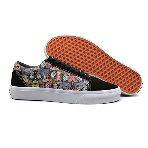 Checkered Party Decorations Human Skull Women Canvas Low Top Canvas Shoes