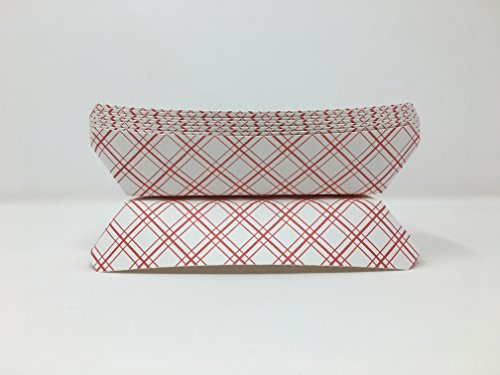 Hot Dog Holders (Mr. Miracle 7 Inch Paper Hot Dog Tray in Red White Pattern. Pack of 100. Disposable, Recyclable and Fully Biodegradable. Made in)