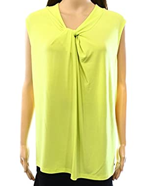 Citrine Women's Plus Front Knot Tank Blouse Yellow 2X