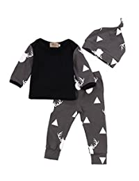 Lahyra 3PCS Baby Boy Deer Print Long Sleeve Shirt Top+Pants+Hat Outfits Clothes