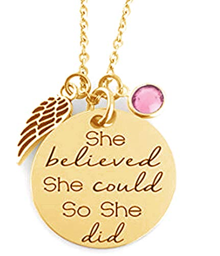 GLAM - ''SHE Believed SHE Could SO SHE DID'' Inspirational Positive Message Mantra Pendant Angel Bird Wing Charm Necklace (Gold/Pink) ()