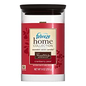Febreze Home Collections Wooden Wick Candle Cranberry Pear, 9-Ounce