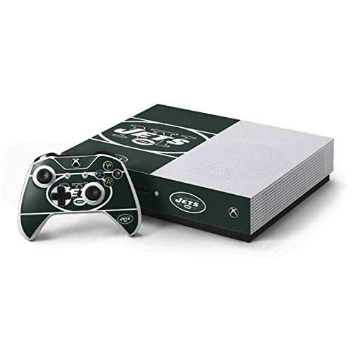 (Skinit NFL New York Jets Xbox One S Console and Controller Bundle Skin - New York Jets Zone Block Design - Ultra Thin, Lightweight Vinyl Decal Protection )