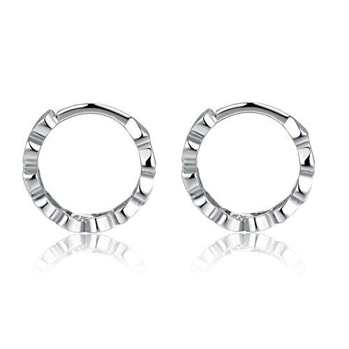 Cœur en or 58514ct 14petites boucles d'oreilles créoles avec anneaux de coupe (8mm) femmes bijoux anniversaire cadeau de mariage