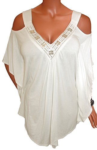 Funfash Plus Size Women Off White Open Shoulders Angel Sleeves Top Made in (Slinky Open Back Dress)