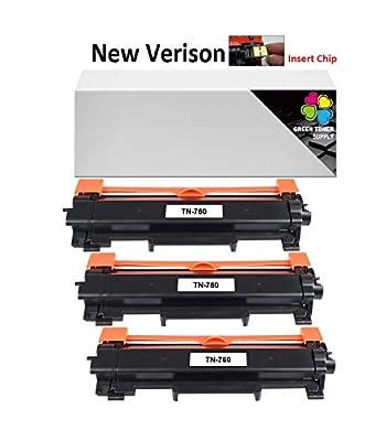 GTS Compatible TN760 Toner cartridge [NO CHIP] Black High Yield 3,000 pages for HL-L2350DW HL-L2390DW HL-L2395DW HL-L2370DW DCP-L2550DW MFC-L2710DW MFC-L2750DW HL-L2370DW XL MFC-L2750DW XL (3Black)