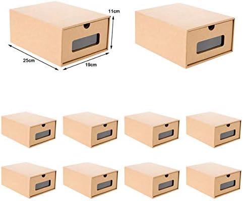 Zapatos de Cartón Cajas Almacenamiento Contenedor De Caja Papel Kraft Zapatos Papel Caja Caja de Almacenamiento (10 pcs (25 * 19 * 11cm): Amazon.es: Hogar