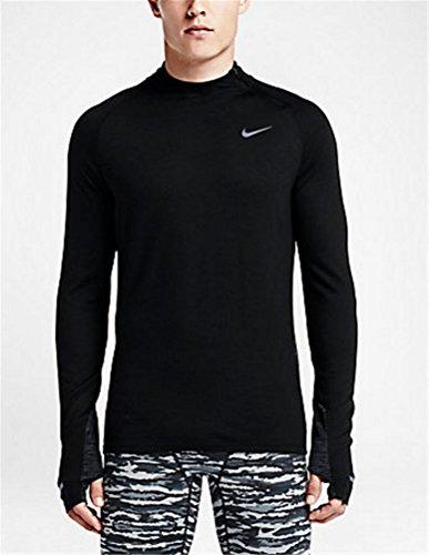 Nike Mens Black Dri-FIT Wool Long Sleeve Running Shirt - Black (Large)