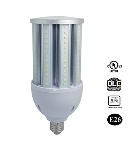 CHANCO 36W LED Corn Bulb Street Lamp,4320 Lumen,120W Metal Halide/HPS/HID Replacement,E26 Medium Mogul Screw Base,Daylight White 5000K Clear Cover,360 Degree Beam Angle,Garage Parking ()