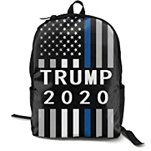NiYoung Fashion Casual Daypack Large Capacity Anti-Theft Multipurpose Laptop Backpack Travel Business Backpack School College Students Bookbag, American Trump 2020 USA Thin Blue Line Flag