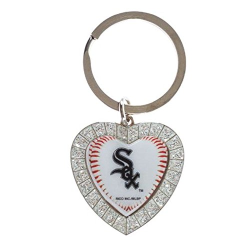 MLB Chicago White Sox Rhinestone Heart Keychain (Chicago White Sox Rhinestone)