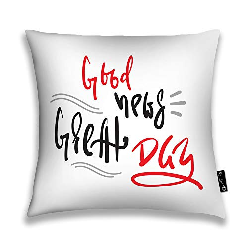 Randell Throw Pillow Covers Good News Great Day Simple I Home Decorative Throw Pillowcases Couch Cases 22