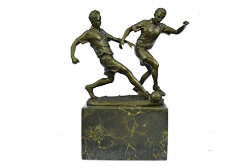 Handmade European Bronze Sculpture Original Art Deco Two Soccer Player FIFA Figurine Figure Bronze Statue -1X-EP-768-Decor Collectible Gift by Bronzioni