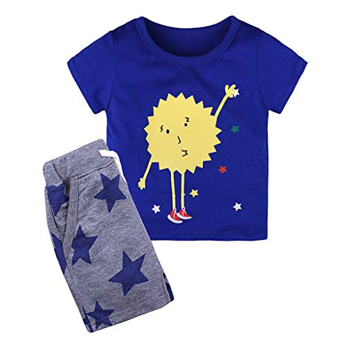 WOCACHI Toddler Boy Kids Baby Clothes Cartoon Tops T-Shirt Shorts Pants Tracksuit Set Infant Bodysuits Rompers Clothing Sets Christening Short Sleeve Organic Cotton Sunsuits ()