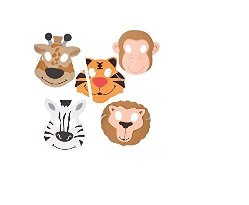 ((24) Assorted Zoo Animals Foam Masks ~ Fun 7.5'' Zoo Animals Party Favor Masks ~ Great Halloween Birthday School Fair Prize Giveaway ~ Assorted Lion Tiger Zebra Monkey Giraffe ~ JUNGLE ~ 24 New ~ 5+)