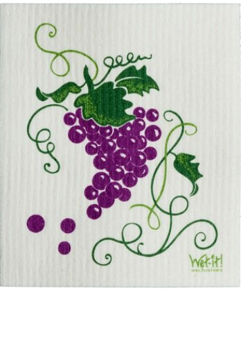 Swedish Treasures Wet-it! Cleaning Cloth, Grapevine, Super Absorbent, Reusable, Biodegradable, - Stores Grapevine