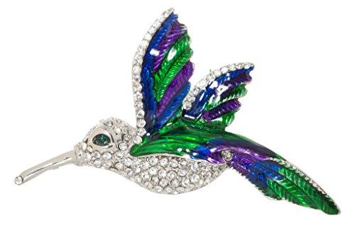 Jeweled Hummingbird Brooch Pin 1.7