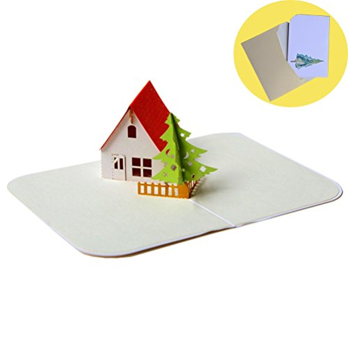 Liangery 3D Christmas Tree Xmas Snowing House Greeting Gift Cards with Envelop (Snowing House)
