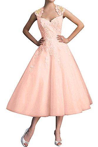 Braut A Kurz Spitze Abschlussballkleider Partykleider Linie Rosa Elegant La Perlen Wadenlang Ballkleider Abendkleider mia Hq8t5IxwR